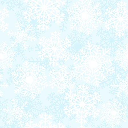 wintery day: White snowflakes on blue background  Seamless pattern Illustration