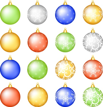 christmas baubless set with pattern Stock Vector - 15931240