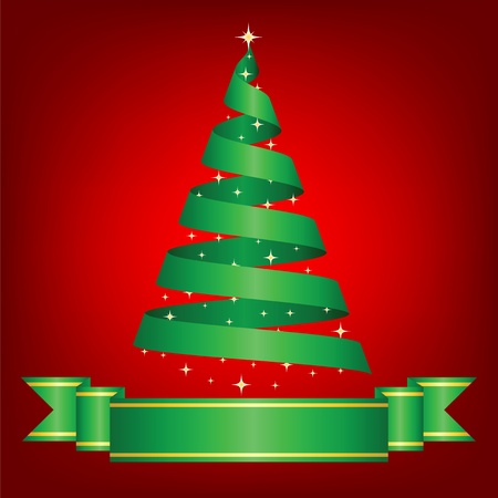 Christmas card with tree and ribbon Stock Vector - 15931235