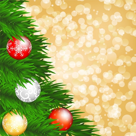 christmas background with christmas tree and baubles on shiny gold backgrouund Stock Vector - 15931251