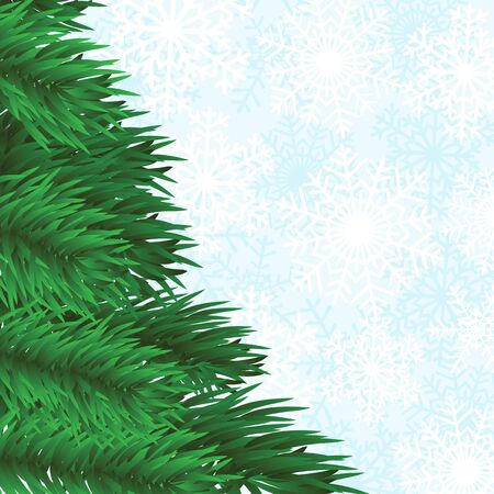 christmas frame with fir-tree and snowflakes background Vector