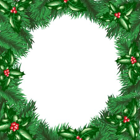 Christmas tree with holly berry leaves frame  Vector