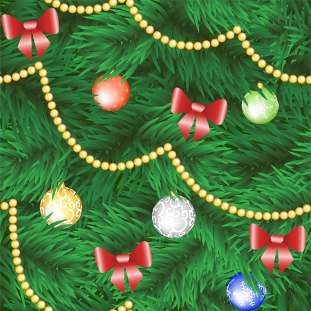 with copy space: Christmas tree seamless background with bauble and bow