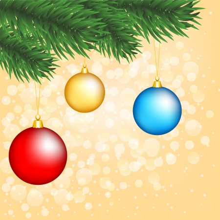 christmas tree branch with baubles on shiny gold background Stock Vector - 15931239