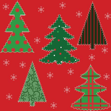 Christmas tree patchwork fabric seamless background Stock Vector - 15931243