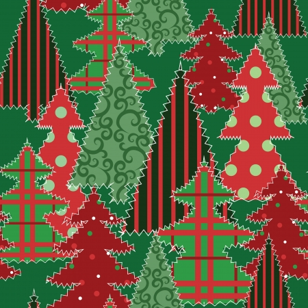 Christmas tree patchwork fabric seamless background Vector