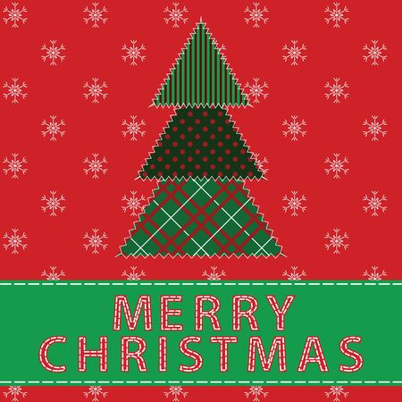 Christmas card with tree  Fabric patchwork  Vector