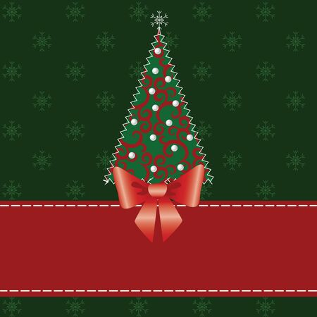 Christmas card with tree  Fabric patchwork Stock Vector - 15931232