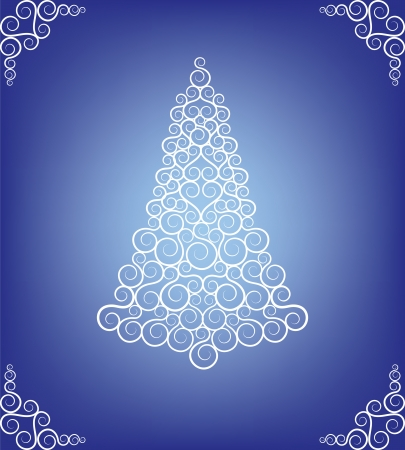 fur tree ornament: Christmas card with curly tree and frost pattern