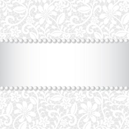 carte de mariage avec dentelle motif, ruban de soie et collier de perles Vecteurs