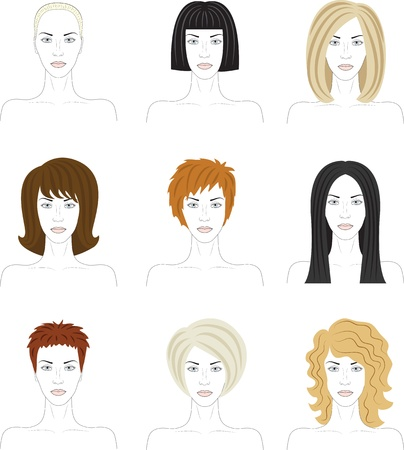 brown hair: set of woman faces with fashionable hairstyle Illustration