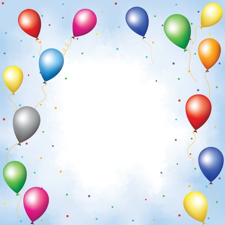 colored balloons: Colourful balloons and confetti flying up in blue sky