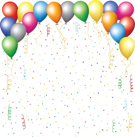 colored balloons: happy birthday background with balloons, confetti and serpantine Illustration
