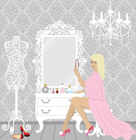 vector illustratie van mooie mode blonde vrouw in haar boudoir met spiegel, mannequin, schoenen en cosmetica Stock Illustratie