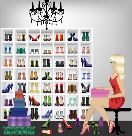 shoe sale: Rich beautiful fashion blonde woman trying on shoes in boutique   Fitting shoes in shop