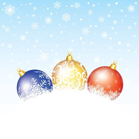 adornment: Christmas card with bauble and snow flake  Illustration