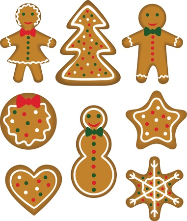 christmas cracker: Christmas cookies set  Paistry shaped man, woman, tree, bauble, star, snowflake, snowman and heart