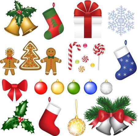 canne a sucre: Babioles, baie de houx, arbre, cloches, chaussettes, flocon de neige, cadeau, arc, biscuits, bonbons, la canne � sucre et les sucreries Illustration