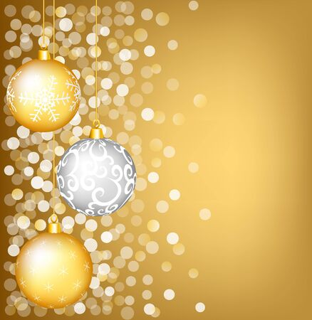 Christmas shiny card with gold and silver bauble Stock Vector - 16355206