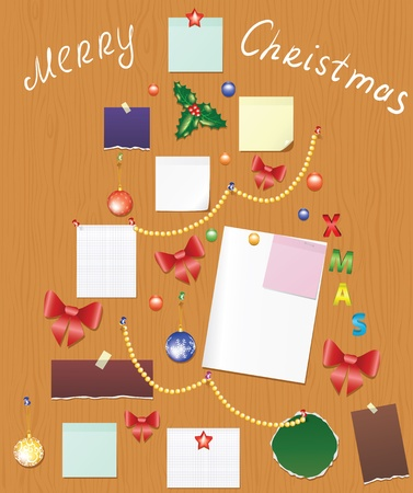 wooden post: Wooden board with bauble, bow, holly berry and post for christmas wishes or list shaped tree
