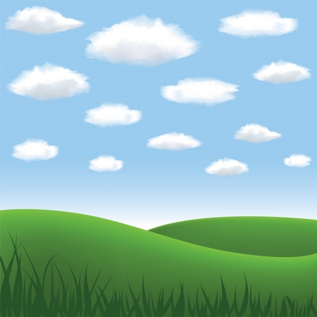 green meadow, hill, blue sky and clouds in summertime Stock Vector - 16355059