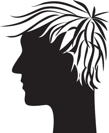 shaved head: man head profile silhouette Illustration