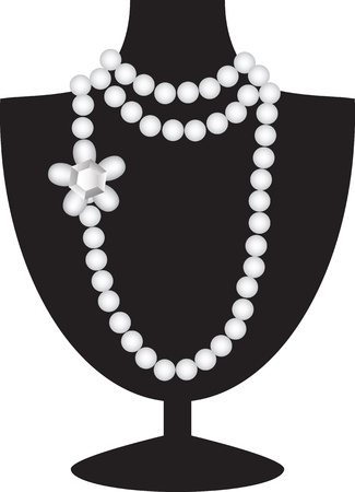 Collana di perle con diamante su manichino nero isolato su bianco Vettoriali