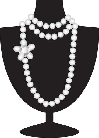Parel ketting met diamant op zwarte mannequin geïsoleerd op wit Vector Illustratie