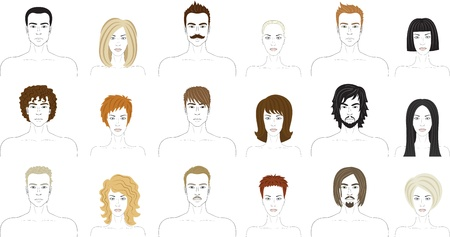 facial painting: Different men and women faces  Avatar set
