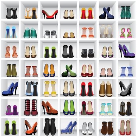 kleedkamer: naadloze achtergrond met schoenen op de planken van de winkel of kleedkamer Stock Illustratie
