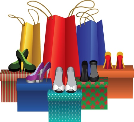 excessive: gift boxes with woman shoes and shopping bags isolating on white Illustration