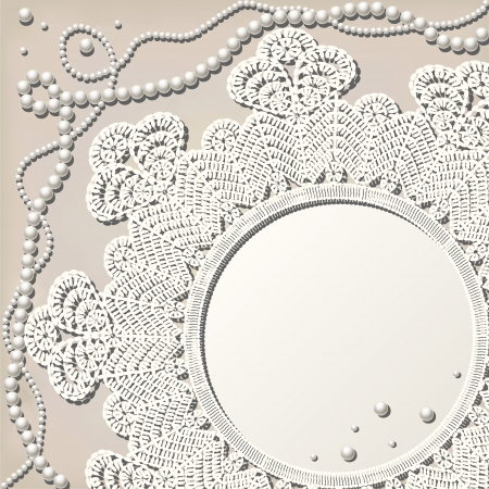 baroque pearl: vintage crochet doily with pearl necklace on grunge background