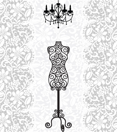 chandelier: vintage card with mannequin and chandelier on lace background Illustration