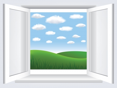 wide open: Room, opened window with empty space in blue sky, clouds and green hiil