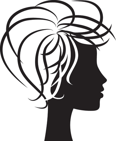 shaved head: beautiful woman head profile silhouette Illustration