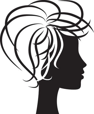 feminity: beautiful woman head profile silhouette Illustration