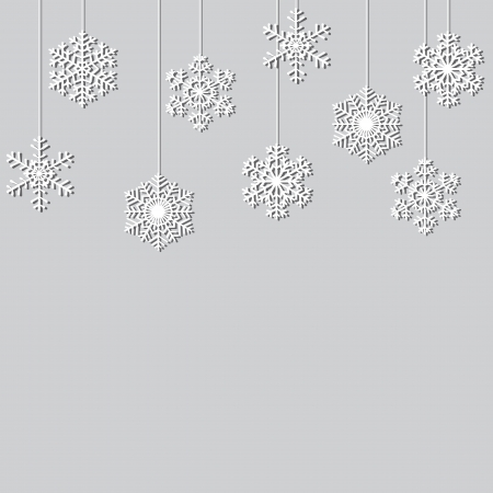 Hanging paper snowflakes  Christmas background Illustration