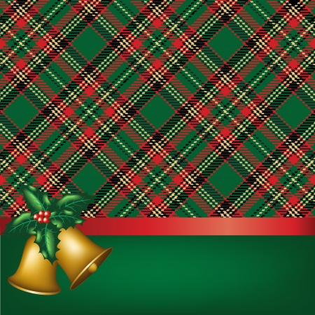 tartan: Christmas card with bells and holly berry on tartan background Illustration