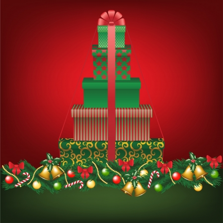Christmas card with stack of gifts shapped tree Stock Vector - 16478105