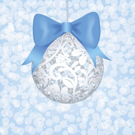 Christmas card with lace bauble and blue bow Stock Vector - 16478100