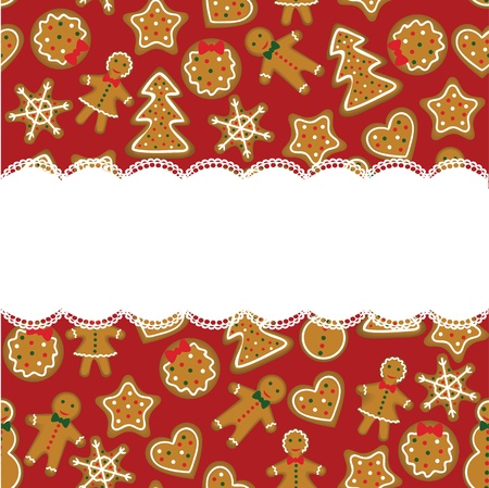 Christmascard with red background and cookies Vector