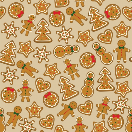 Seamless background with christmas cookies Vector