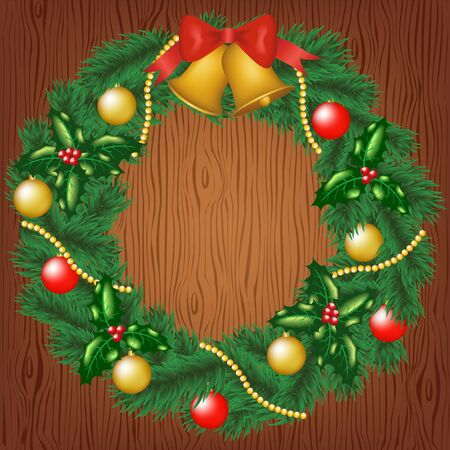 door bell: Christmas card with garland on wood background Illustration