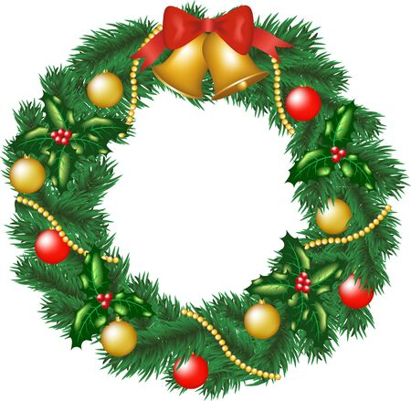 door bell: Christmas garland with bells, bauble and holly berry Illustration