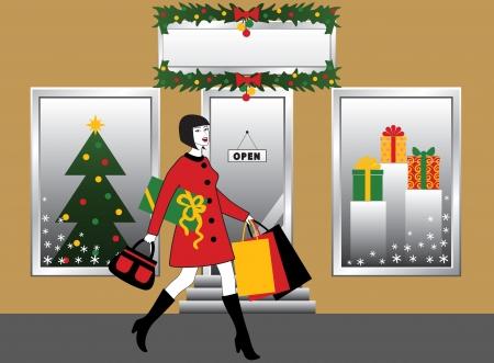 christmas eve: Woman with shopping bag and gift  christmas decoration of shop