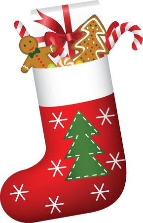 Christmas sock full of candies, cookies and gift Vector