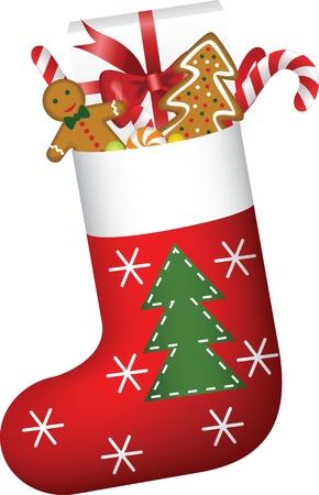 Weihnachten Socke voller Süßigkeiten, Kekse und Geschenk Vektorgrafik