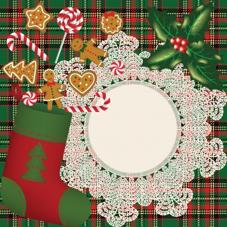 Ckristmas sock with candies and cookies on crochet doily and table cloth Vector