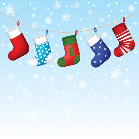 Christmas socks hanging on snowflakes background Stock Vector - 16478088
