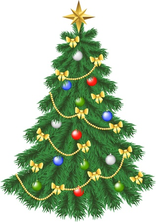 Spruce christmas tree isolated on white Vector